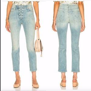 NEW $238 MOTHER Lace Up Dazzler Jeans Blue SZ 26